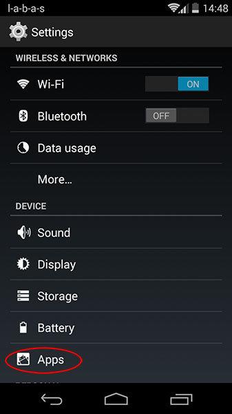 android nustatymų langas