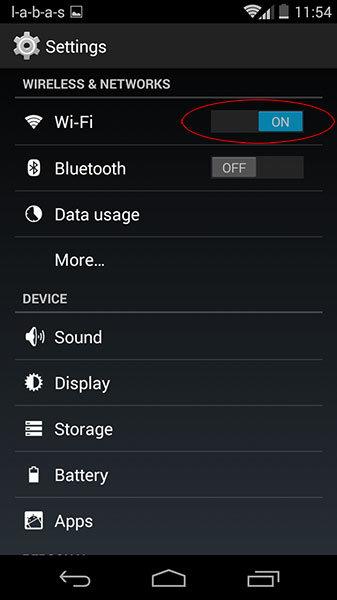 kaip telefone išjungti wifi