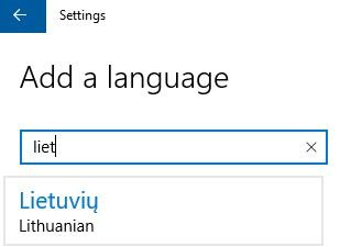 idiegti lietuviu kalba windows 10