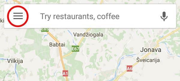 google maps programėlė meniu