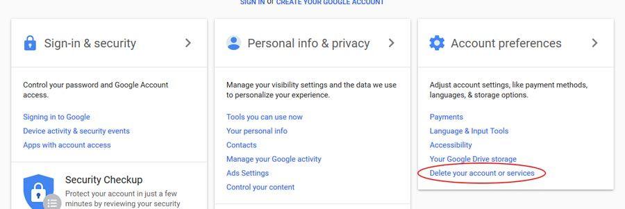 kaip istrinti google paskyra arba gmail