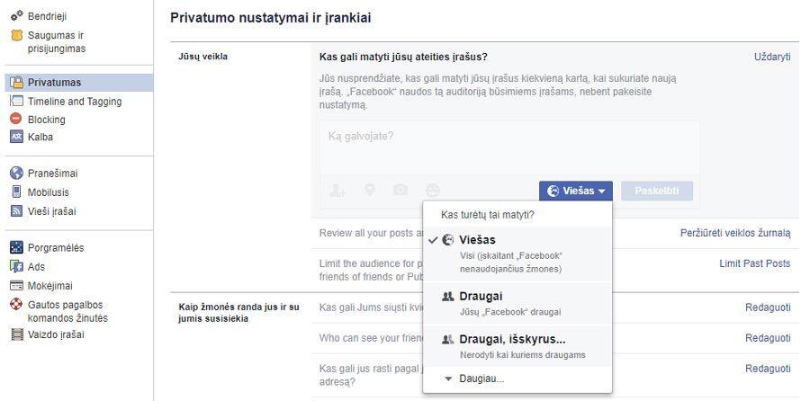 facebook apriboti privatumą