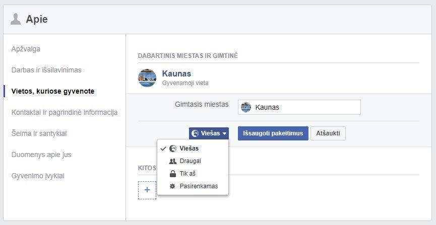 facebook asmenine informacija
