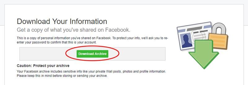 facebook issaugoti visa informacija