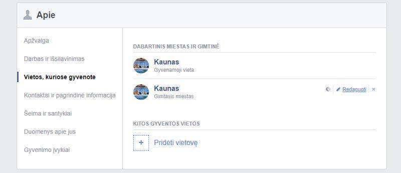 facebook paslepti arba redaguoti asmenine informacija