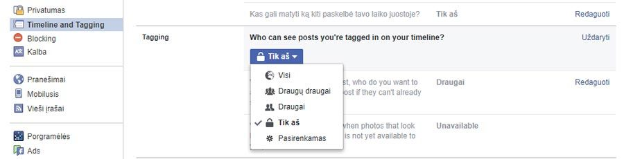 facebook taginimo nustatymai