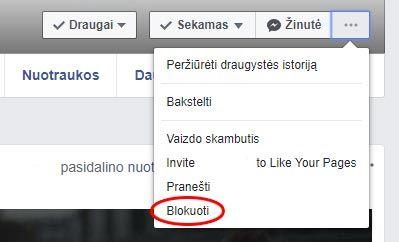 facebook blokuoti drauga