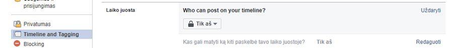 neleisti draugams rasyti ant facebook sienos