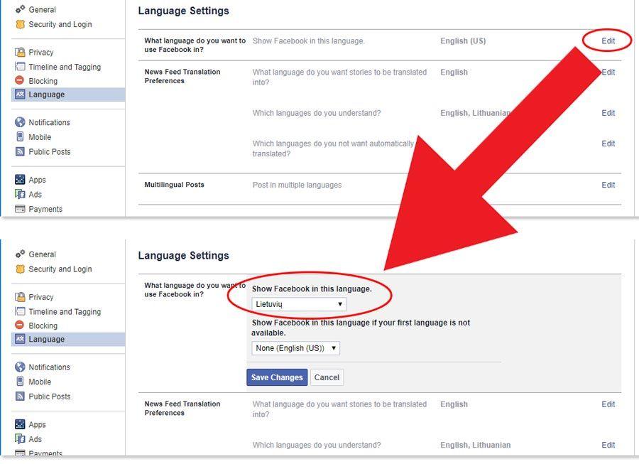 kaip pakeisti facebook kalba