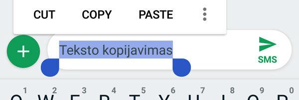 kaip kopijuoti tekstą android telefone