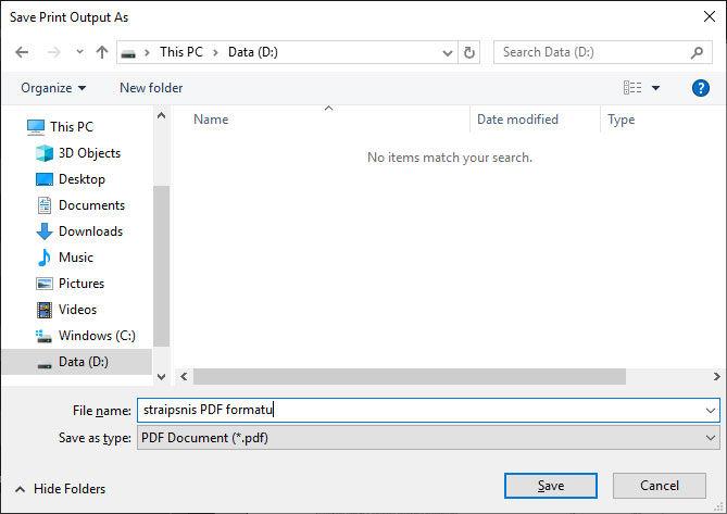 dokumento išsaugojimas PDF formatu