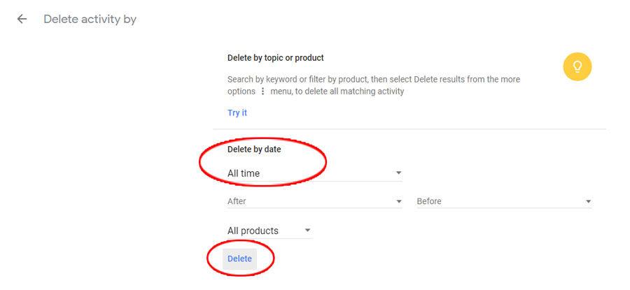 Google ištrinti naršymo ir paieškos istoriją