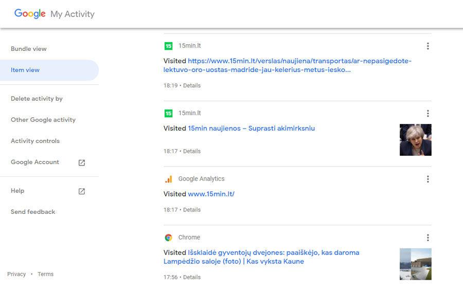 kaip peržiūrėti Google išsaugotą naršymo istoriją