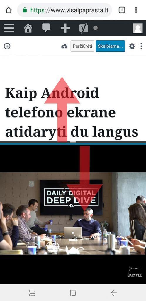 android du langai tuo pačiu metu