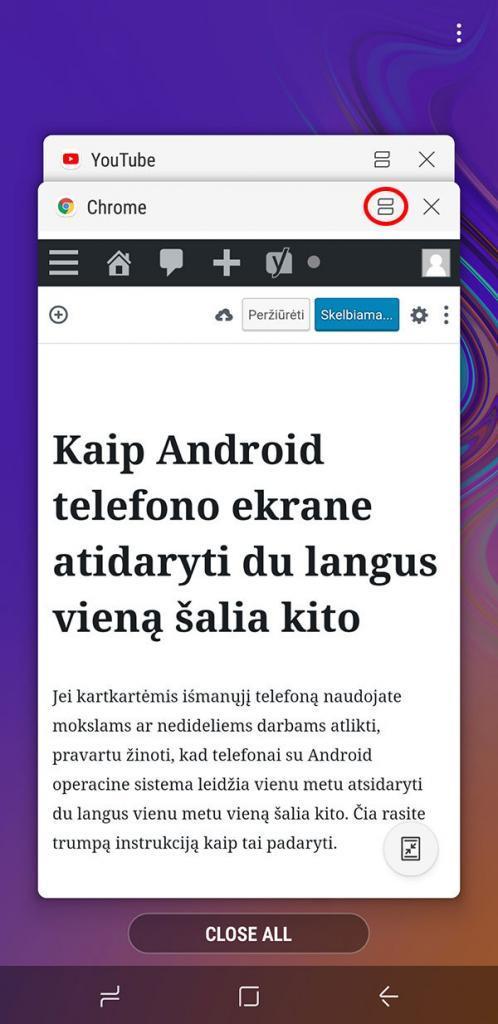 android dvi programos ekrane vienu metu
