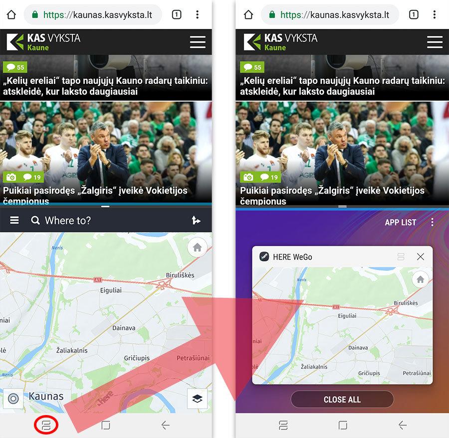 du langai vienu metu android telefone