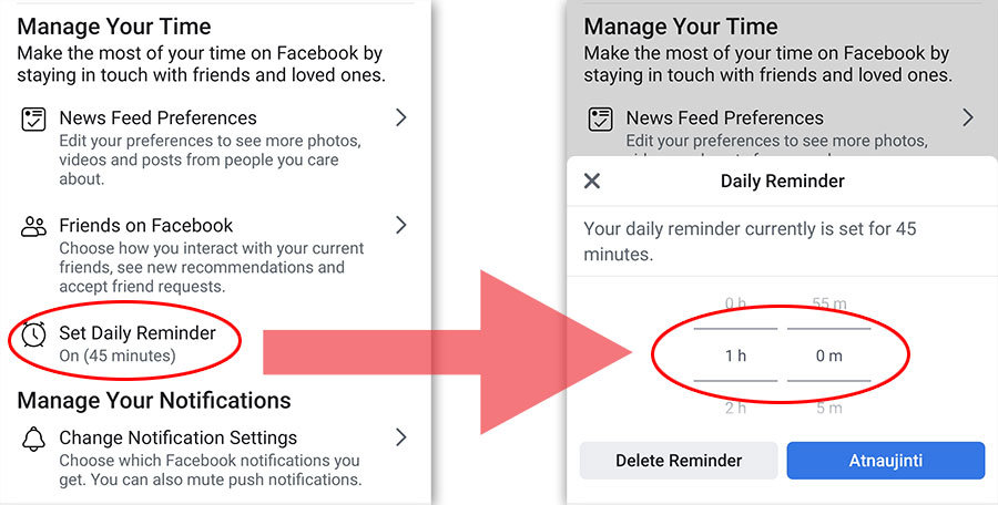 apriboti facebook programelėje praleidžiamą laiką