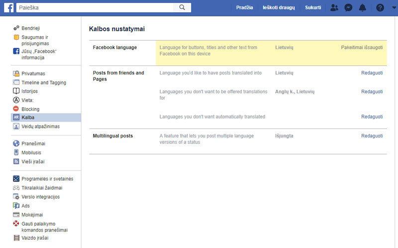 facebook lietuviskai