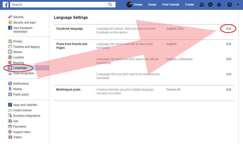 facebook kaip pakeisti kalbą