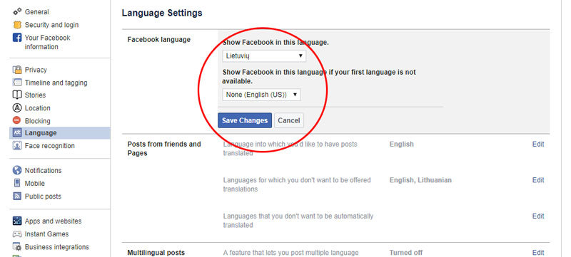 facebook kalbos pakeitimas