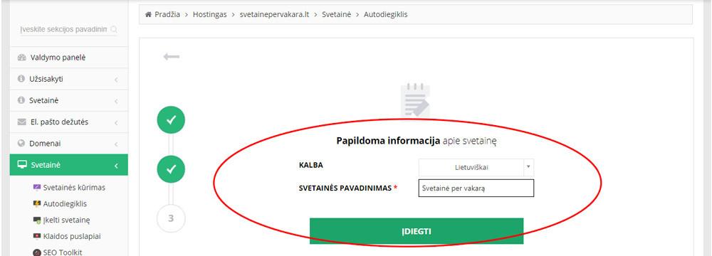 wordpress instaliavimas lietuviškai