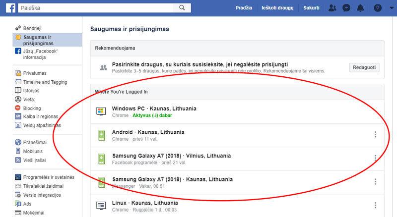 facebook prisijungimų sąrašas